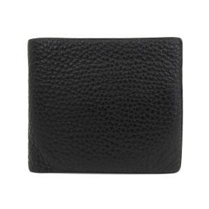 本物保証 美品 エルメス HERMES 二つ折り 財布 レザー 黒 メンズ □D刻印