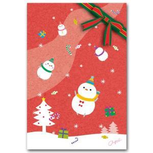 かわいいポストカード 雪だるま飛ぶ クリスマスカード|shop-wadouraku