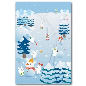 かわいいポストカード 冬うさぎ 冬の絵葉書|shop-wadouraku