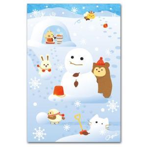 かわいいポストカード 雪だるまづくり 冬の絵葉書|shop-wadouraku