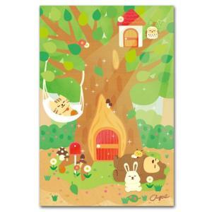 かわいいポストカード 木陰でおひるね 動物の絵葉書|shop-wadouraku