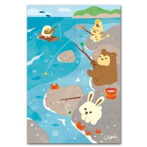 かわいいポストカード 釣りをする 動物の絵葉書|shop-wadouraku