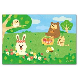 かわいいポストカード 野原でピクニック 動物の絵葉書|shop-wadouraku