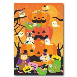 ハロウィンポストカード みんなでハロウィン かわいい絵葉書|shop-wadouraku