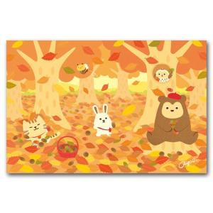 かわいいポストカード どんぐりひろい 秋の絵葉書|shop-wadouraku