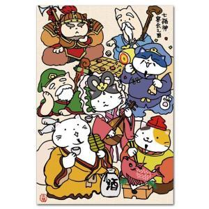 猫のイラストポストカード 七福神宴会之図 縁起物絵葉書 年賀状