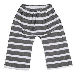 【収納ポーチ付】 おねしょ対策 ズボン ボーダーグレー フリーサイズ(3歳?5歳くらい) shop-white