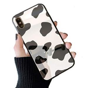 スマホケース 鏡面 ミラー ガラス 牛柄 ミルク ブラック iphone7 iphone8 iphoneSE(第二世代)|shop-white