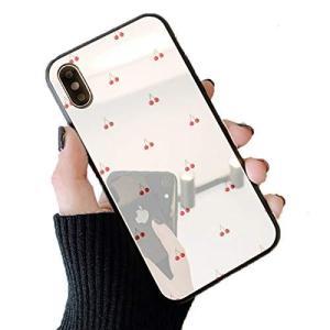 スマホケース 鏡面 ミラー ガラス さくらんぼ チェリー 05:ホワイト iphone7 iphone8 iphoneSE(第二世代)|shop-white