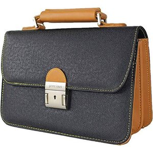 Precious プレシャス フェイクレザー メンズ 本革風 セカンドバッグ かぶせタイプ 持ち手つき ブラック IN-1602|shop-white