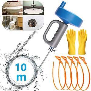 PITZO パイプクリーナー 5本 パイプブラシ ワイヤー 10m 回転式 パイプ疏通ツール 排水溝 つまり トイレ 洗面所 排水口 詰まり shop-white