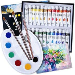 絵の具 24色 筆3本 パレット キャンバス付 0.4oz/12ml アクリル絵具セット チューブ 絵の具 水彩風 アクリルカラー 水彩画|shop-white