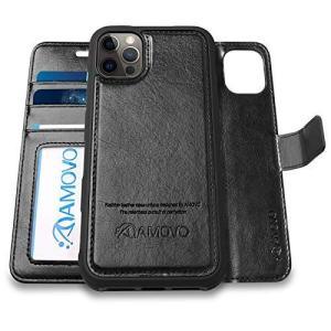 AMOVO iPhone 12 Pro Max 用 ケース 手帳型 分離式 マグネット 取り外し自由 ワイヤレス充電に対応 カード収納 横開|shop-white