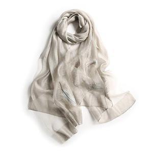 アンミダ(ANMIDA)シルク 大判ストール レディース UV マフラー スカーフ ストール 刺繍シルク ストール レディース 秋冬 UVカ|shop-white
