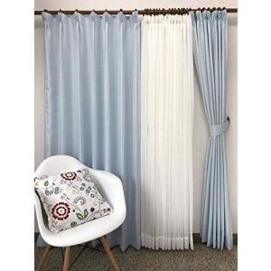 品番2657 4枚組カーテン (巾100cmx丈178cm 4枚組, ブルー)|shop-white