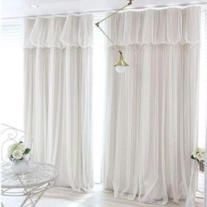 OSONA 姫系 カーテン 遮光 フリルカーテン 二重カーテンレース 一体型 掃き出し窓 腰窓 出窓用 遮光率90% アジャスターフック付き|shop-white