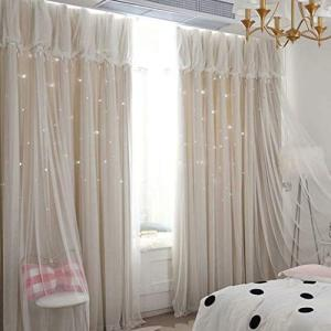 遮光カーテン 姫系 カーテン フリル 遮光率90% レース グラデーション 一体型 おしゃれ 星柄 透かし彫り 二重カーテン 1.5倍ヒダ|shop-white