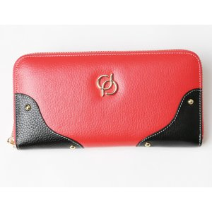 財布 レディース 長財布 ラウンドファスナー 大容量 人気 ブランド   PD36 カラー サーモンピンク|shop-ybj
