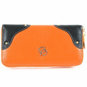 財布 レディース 長財布 ラウンドファスナー 大容量 人気 ブランド   PD36 カラー オレンジ|shop-ybj