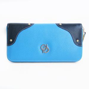 財布 レディース 長財布 ラウンドファスナー 大容量 人気 ブランド   PD36 カラー ライトブルー|shop-ybj