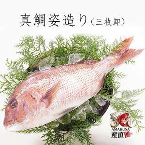 鯛 お食い初めに 真鯛姿造り(皮付き/ウロコなし・尾頭付き・三枚おろし) 1尾・約1kg  送料無料|shopamakusa