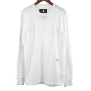 G-STAR RAW(ジースターロウ)エンボスロゴクルーネック長袖Tシャツ ホワイト|shopbring