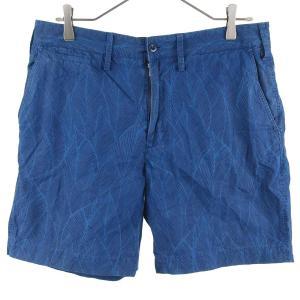 DELUXE(デラックス)総柄リーフデザインハーフパンツ ブルー|shopbring