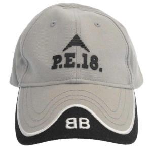 BALENCIAGA(バレンシアガ)P.E.18 BBロゴ刺繍ベースボールキャップ 帽子 グレー 5...