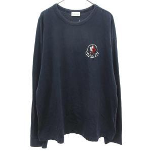 MONCLER (モンクレール) ×KITH MAGLIA GIROCOLLOクルーネックロングスリーブTシャツ フロッキーロゴプリント 長袖カットソー キス|shopbring