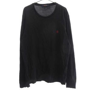 LOUIS VUITTON (ルイヴィトン) 18AW LV ロゴ刺繍クルーネックロングTシャツ ブラック RM182Q JC8 HAY53W|shopbring