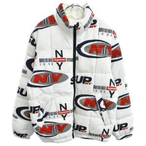 SUPREME(シュプリーム)18AW NY Reversible Puffy Jacket フォント総柄プリント リバーシブルダウンジャケット ホワイト|shopbring