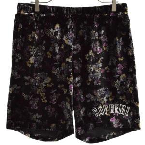 SUPREME(シュプリーム)19AW Floral Velour Short フローラルベロアショーツ ハーフパンツ パープル|shopbring