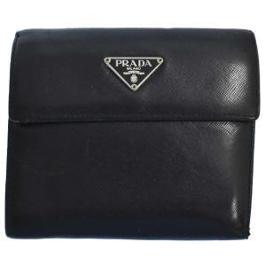 PRADA (プラダ) M510A サフィアーノ ロゴプレートレザー二つ 折り 財布 ブラック|shopbring
