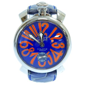 GaGa MILANO (ガガミラノ) マヌアーレ48MMムーブ手巻き腕時計 ネイビー|shopbring
