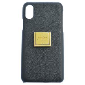 SAINT LAURENT PARIS (サンローランパリ) Grain Leather Ring iPhone Xs Case レザー スマホケース 585435 BTY0N ブラック|shopbring