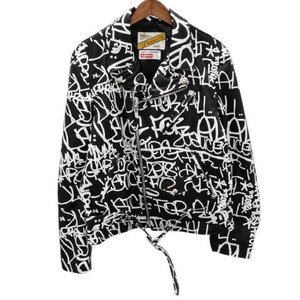 SUPREME(シュプリーム)18AW × COMME des GARCONS SHIRT × Schott Painted Perfecto Leather Jacket 総柄ペイントプリントレザーダブルライダースジャケット|shopbring