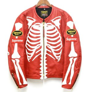 SUPREME(シュプリーム)17AW ×Vanson Leather Bones Jacket レザー ライダースジャケット レッド ボーン バンソン|shopbring