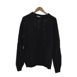 Dior HOMME(ディオールオム)ビーズ付ダメージ加工ニット セーター ブラック|shopbring