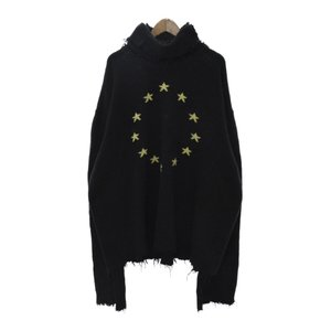 VETEMENTS(ヴェトモン)17AW EURO STAR EMBROIDERED FRAYED OVERSIZED SWEATER ユーロスター ロールネック ニットセーター WAH18KN2|shopbring