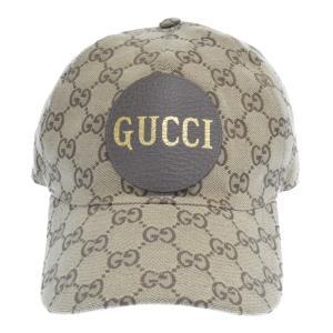 GUCCI(グッチ)レザーロゴワッペン付GGキャンパスベースボールキャップ ブラウン|shopbring