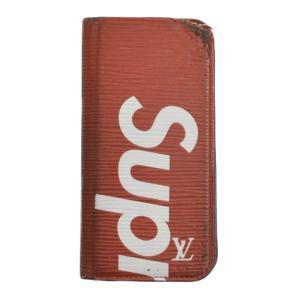 SUPREME(シュプリーム)LOUIS VUITTON ルイヴィトン 17AW エピ フォリオ iPhone7 8 レザーアイフォンケース レッド ホワイト M67757|shopbring