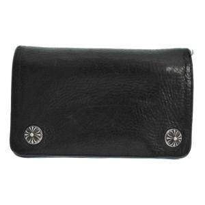CHROME HEARTS(クロムハーツ)1ジップ クロスボールボタン レザー二つ折り財布 ウォレット ブラック|shopbring