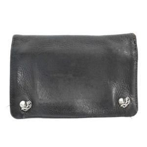 CHROME HEARTS(クロムハーツ)ワンジップハートボタン二つ折り財布 ブラック