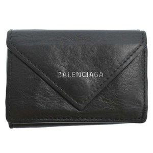 BALENCIAGA(バレンシアガ)ペーパーミニ財布 ブラック 391446