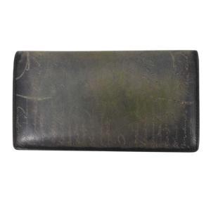 Berluti(ベルルッティ)スクリット 二つ折り長財布 グリーン パープル ゴールデンパティーヌ F0126|shopbring