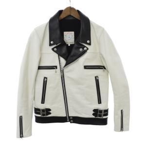 UNDER COVER(アンダーカバー)カウレザーバイカラーダブルライダースジャケット ホワイト ブラック N9201|shopbring