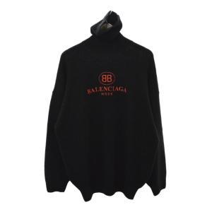 BALENCIAGA(バレンシアガ)18AW フロントBBロゴ刺繍エンブロイダリータートルネックニットセーター ブラック 526584 T4081|shopbring