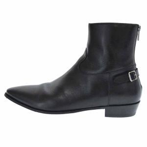 CELINE(セリーヌ)19SS JACNO Back Buckle Zipped Boots セリーヌ バックバックルジップブーツ 革靴 ベルト ヒール ブラック 791415|shopbring