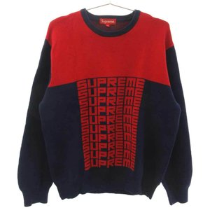 SUPREME (シュプリーム) 18AW Logo Repeat Sweater フロントロゴニットセーター レッド/ネイビー|shopbring