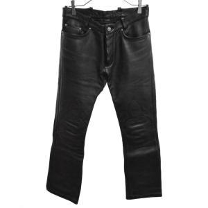 CHROME HEARTS(クロムハーツ)LTHR PANTS レザーパンツ フレアニーレザーロングパンツ ブラック|shopbring